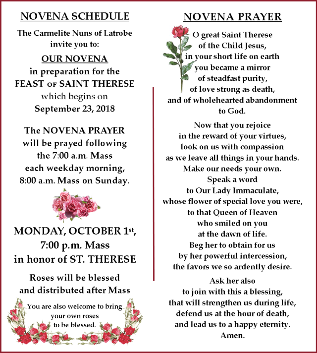 Novena Schedule - Therese